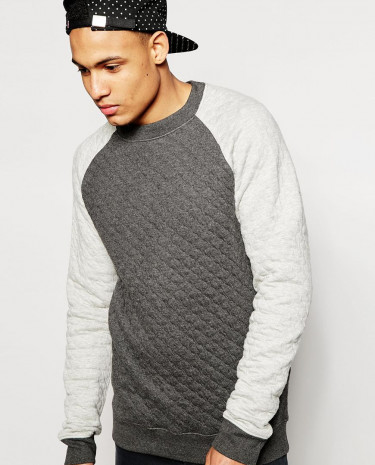 Fashion Shop - D-Struct Shallot Quilted Contrast Crew neck Jumper - Grey