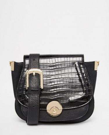 Fashion Shop - Dune Delphine Croc Effect Winged Saddle Bag in Black - Blacksynthetic