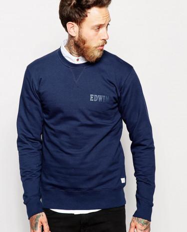 Fashion Shop - Edwin Crew Sweatshirt Classic Logo - Navy