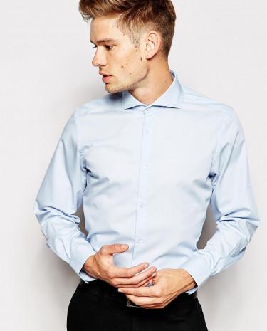 Fashion Shop - Esprit Formal Shirt with Cut Away Collar in Slim Fit - Lightblue
