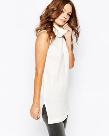 Fashion Shop - Fashion Union Sleeveless Roll Neck Tunic - Cream