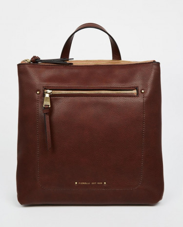 Fashion Shop - Fiorelli Brodie Zip Top Backpack with Zip Front Pocket - Chestnut