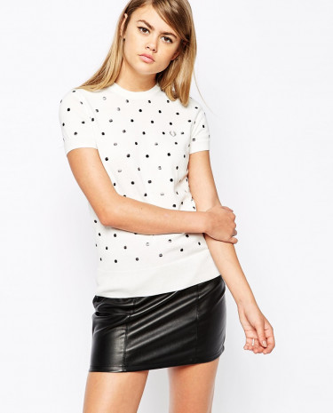 Fashion Shop - Fred Perry Embroidered Polka Dot Knitted T-Shirt - White