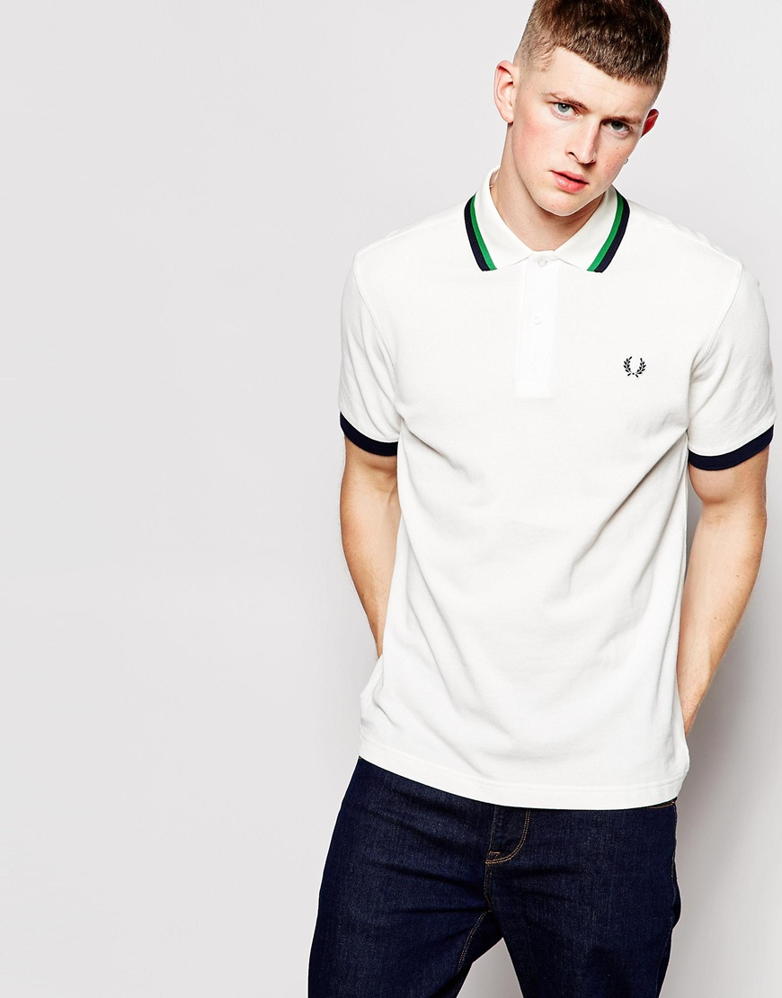 f5e824bb Fashion Shop - Fred Perry Polo Shirt with Twin Tip in Snow White - Snowwhite
