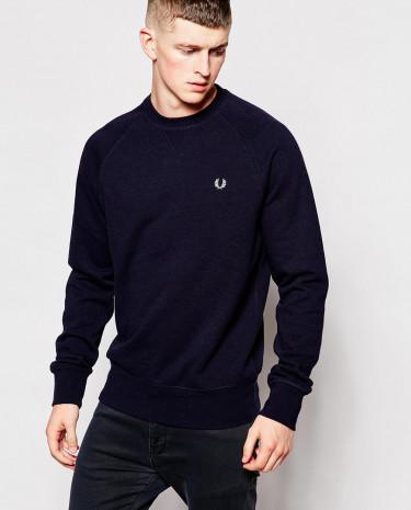 Fashion Shop - Fred Perry Sweatshirt in Crew Neck Navy Marl - Navymarl