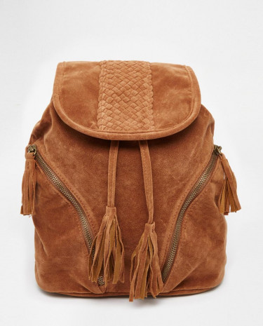Fashion Shop - Glamorous Backpack in Tan with Tassels - Tan