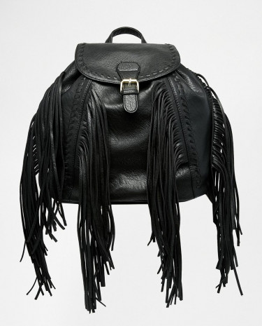 Fashion Shop - Glamorous Backpack with Fringing - Black