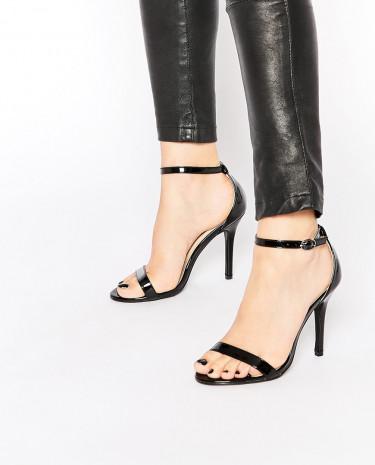 Fashion Shop - Glamorous Black Patent Two Part Heeled Sandals - Black