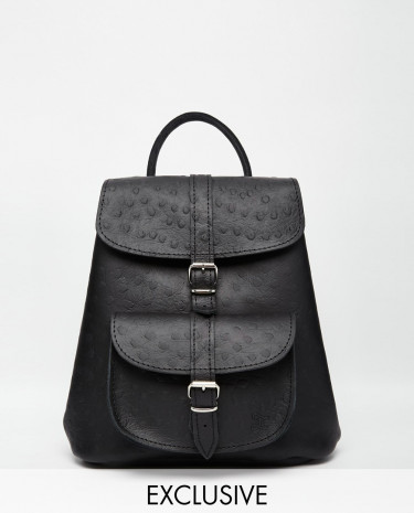 Fashion Shop - Grafea Leather Mini Backpack in Ostrich Finish - Blackwithostrich