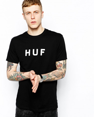 Fashion Shop - HUF T-Shirt With Original Logo - Black