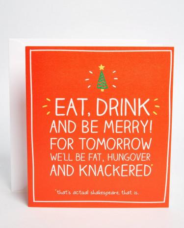 Fashion Shop - Happy Jackson Eat Drink & Be Merry Christmas Card - Multi