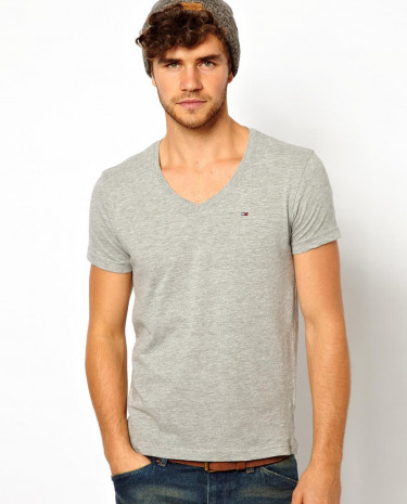 Fashion Shop - Hilfiger Denim T-shirt with V Neck - Grey