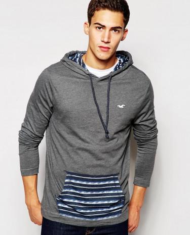 Fashion Shop - Hollister Hoodie in Jersey with Stripe Kangaroo Pocket - Grey