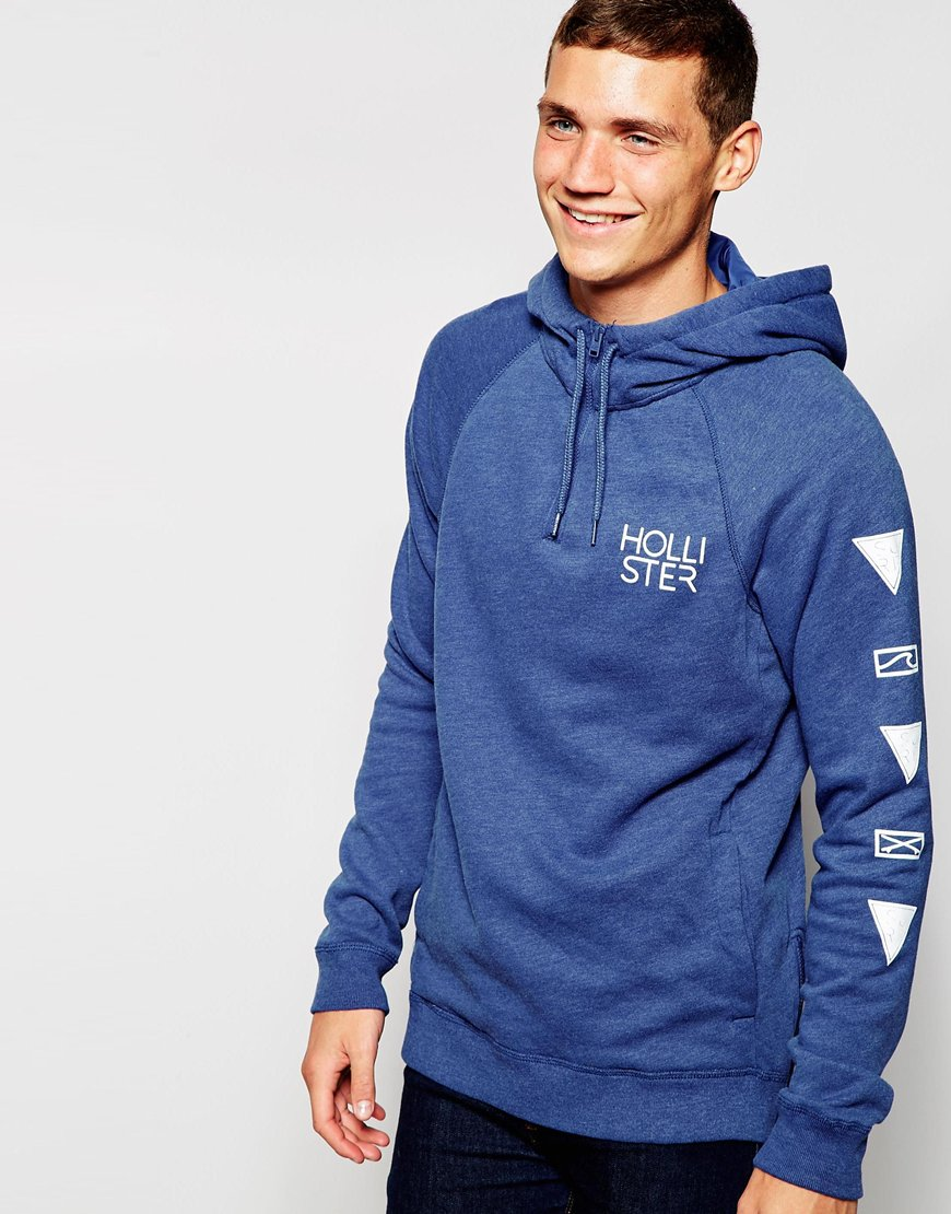Fashion Shop - Hollister Overhead Hoodie with Logo - Blue
