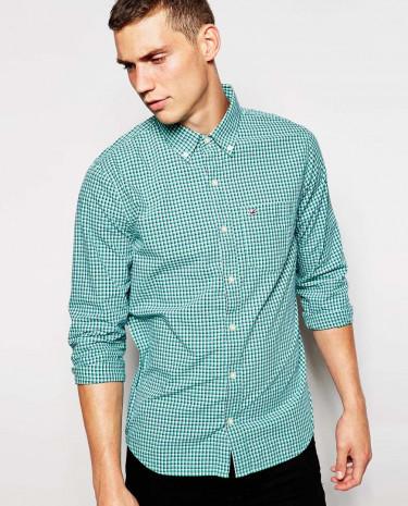 Fashion Shop - Hollister Shirt With Micro Check - Green