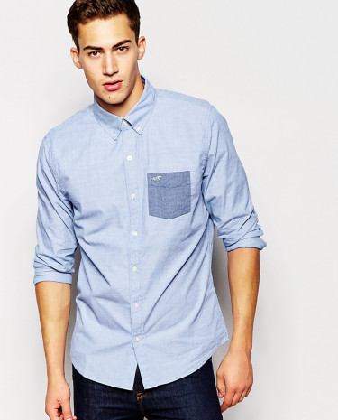 Fashion Shop - Hollister Shirt with Contrast Pocket Short Sleeves - Ditchnavy