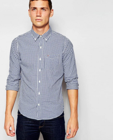 Fashion Shop - Hollister Shirt with Gingham Check - Navy