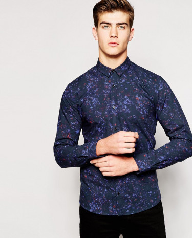 Fashion Shop - Hugo by Hugo Boss Shirt with All Over Print Slim Fit - Navy