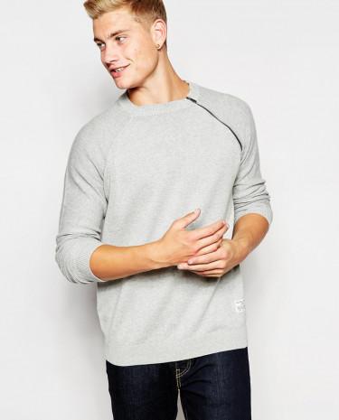 Fashion Shop - Jack & Jones Crew Neck Jumper with Shoulder Zip Detail - Lightgreymelange