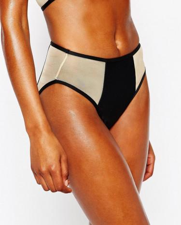 Fashion Shop - Jaded London High Leg Mesh Insert Bikini Bottom - Black