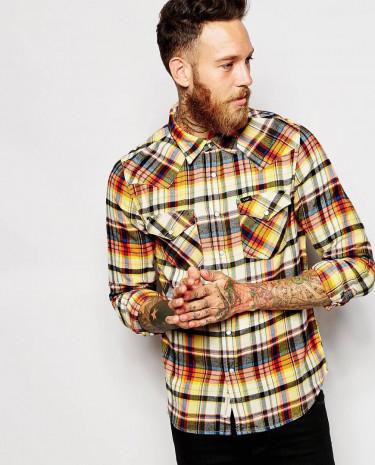 Fashion Shop - Lee Shirt Slim Fit Western Varied Check - Burntorange