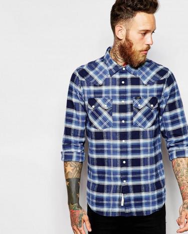 Fashion Shop - Lee Slim Fit Shirt Rider Western Twill Check - Navy