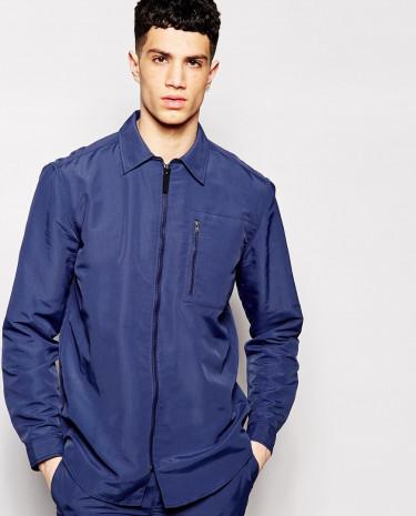 Fashion Shop - Libertine Libertine Shirt Jacket with Zip Front - Blue