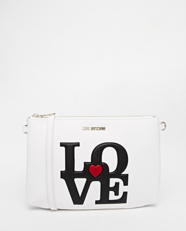 Fashion Shop - Love Moschino LOVE Shoulder Bag with Detachable Strap - White