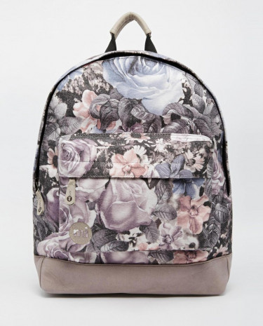 Fashion Shop - Mi-Pac Digital Floral Print Backpack - Lightgrey