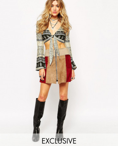 Fashion Shop - Milk It Suede Mini Skirt With Zip Front In Patchwork - Multi