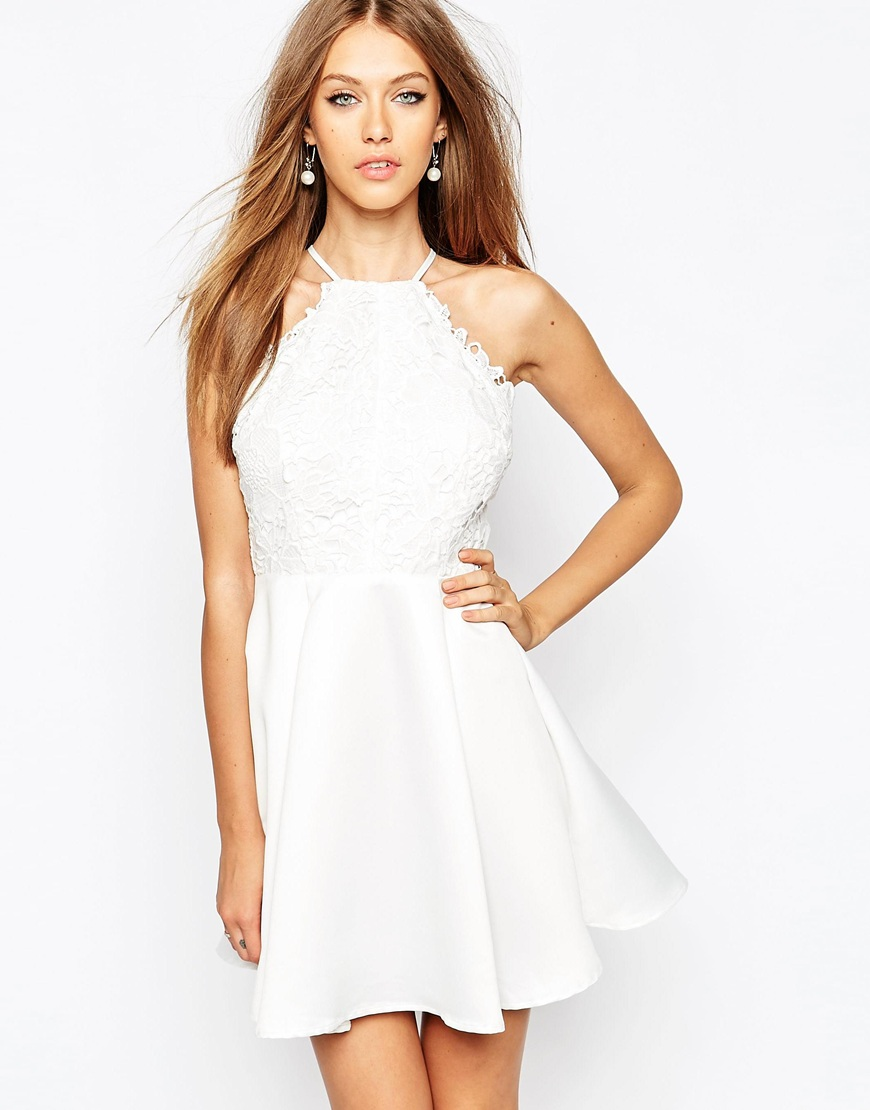 Fashion Shop Missguided Lace Skater Dress With Back Detail - White ... dc379bd2b