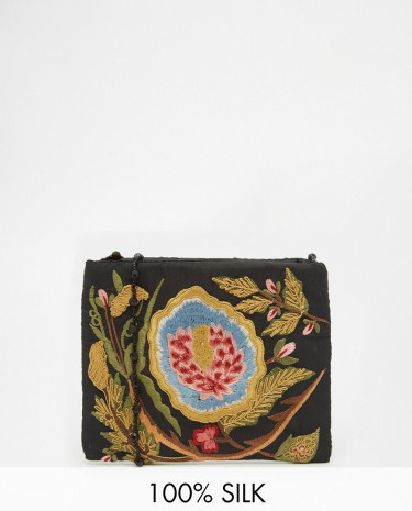 Fashion Shop - Moyna Across Body Bag With Floral Embroidery and Beaded Strap in Black - Black