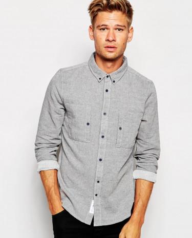 Fashion Shop - Native Youth Brushed Herringbone Fleck Shirt - Greymarl