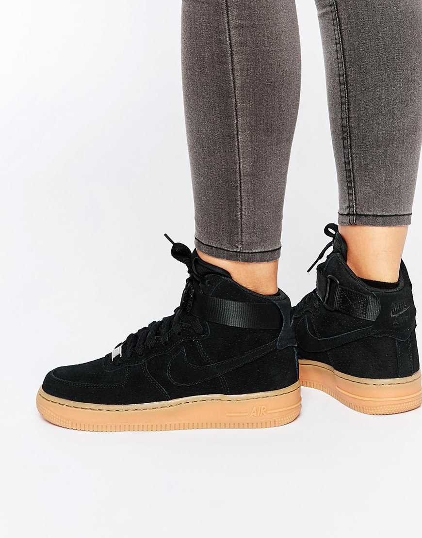 brand new 270df 508ff Fashion Shop - Nike Air Force 1 07 Suede Black Trainers - Black