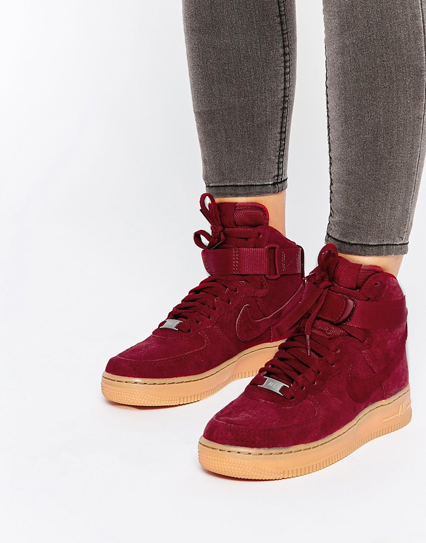 Air 1 Suede Force Nike Burgundy EDIWH29Y