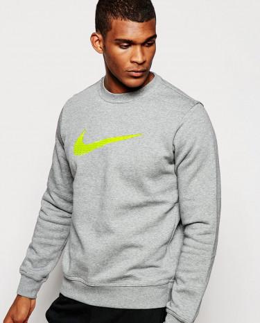 Fashion Shop - Nike Club Sweatshirt with Large Swoosh 679350-091 - Grey