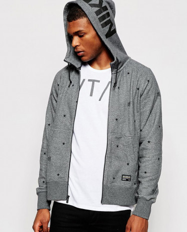 Fashion Shop - Nike FC Zip Up Hoodie with Star Print 687941-071 - Grey