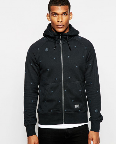 Fashion Shop - Nike FC Zip Up Hoodie with Star Print - Black