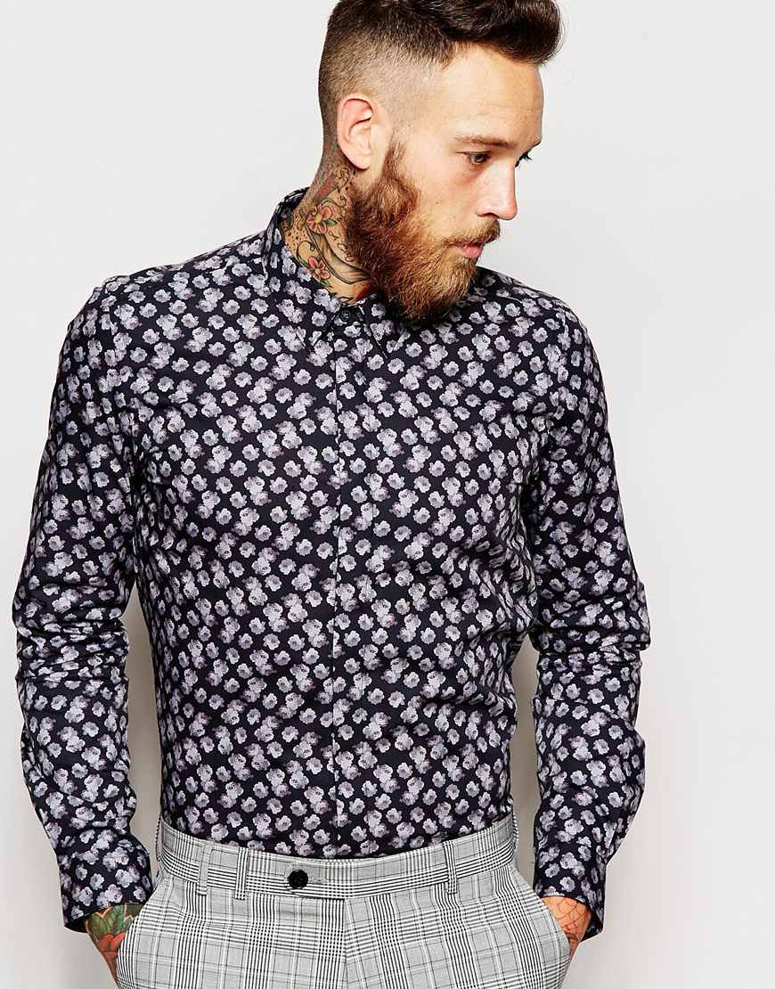 Fashion Shop - Noose & Monkey Shirt with Roses Print in Skinny Fit - Blackgrey