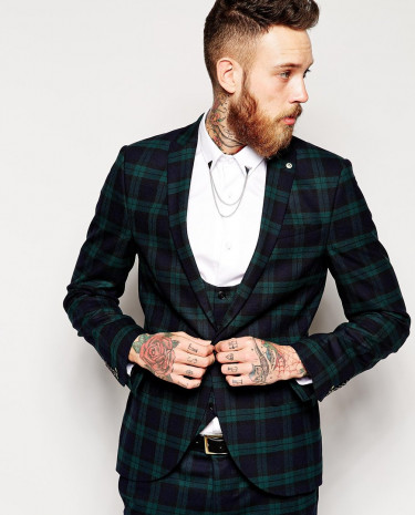 Fashion Shop - Noose & Monkey Tartan Suit Jacket With Stretch in Skinny Fit - Green