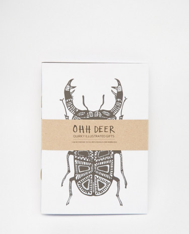 Fashion Shop - Ohh Deer Pack of 3 Monochrome A6 Notebooks - Multi
