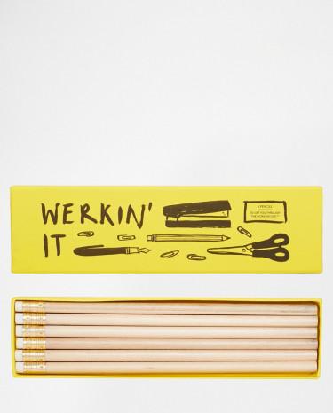 Fashion Shop - Ohh Deer Set of 6 Werkin It Pencils - Multi