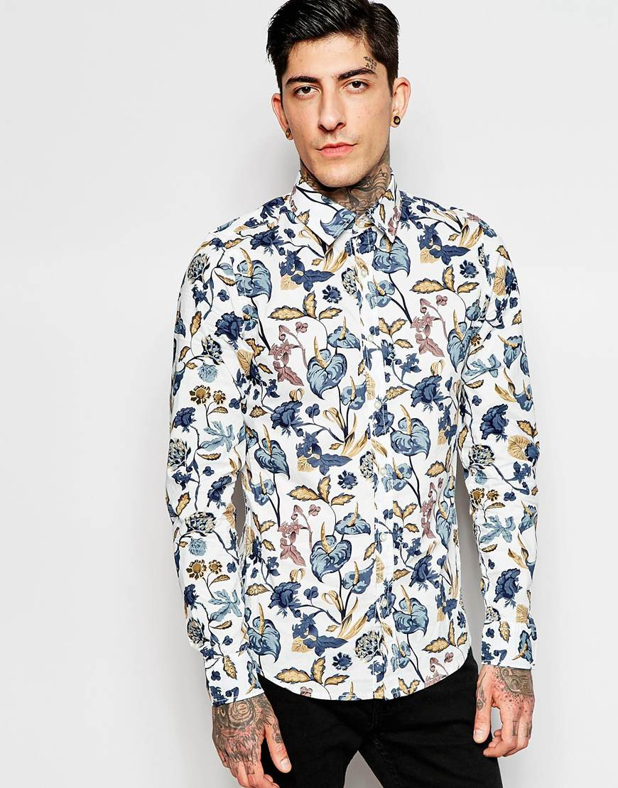 Fashion Shop - Only & Sons Shirt with All Over Floral Print - Starwhite
