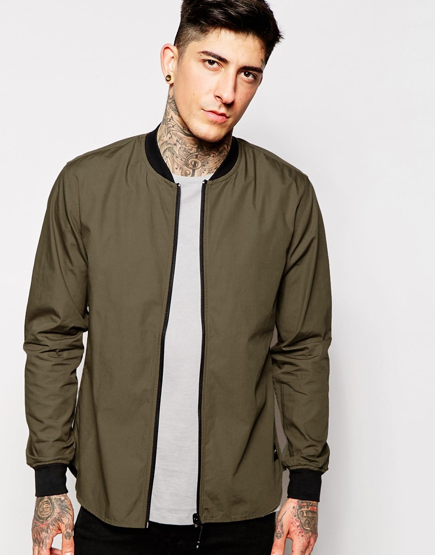 Fashion Shop - Only & Sons Zip Up Shirt - Khaki