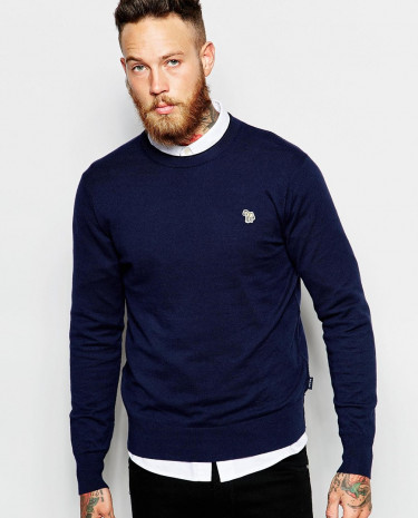Fashion Shop - Paul Smith Jeans Jumper with Zebra Logo in Crew Neck - Navy