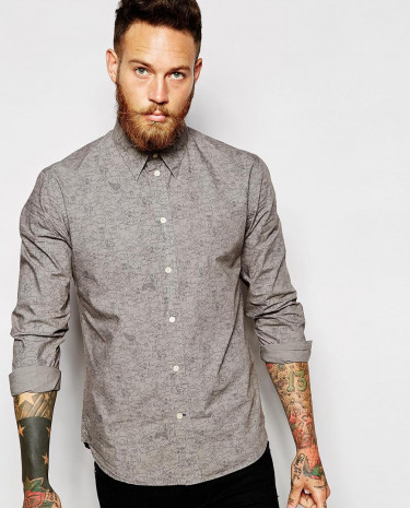 Fashion Shop - Paul Smith Jeans Shirt with Hippo Print Slim Fit - Grey