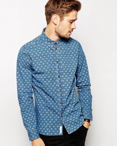 Fashion Shop - Pepe Shirt Latrobe Geometric Reverse Print - Indigo