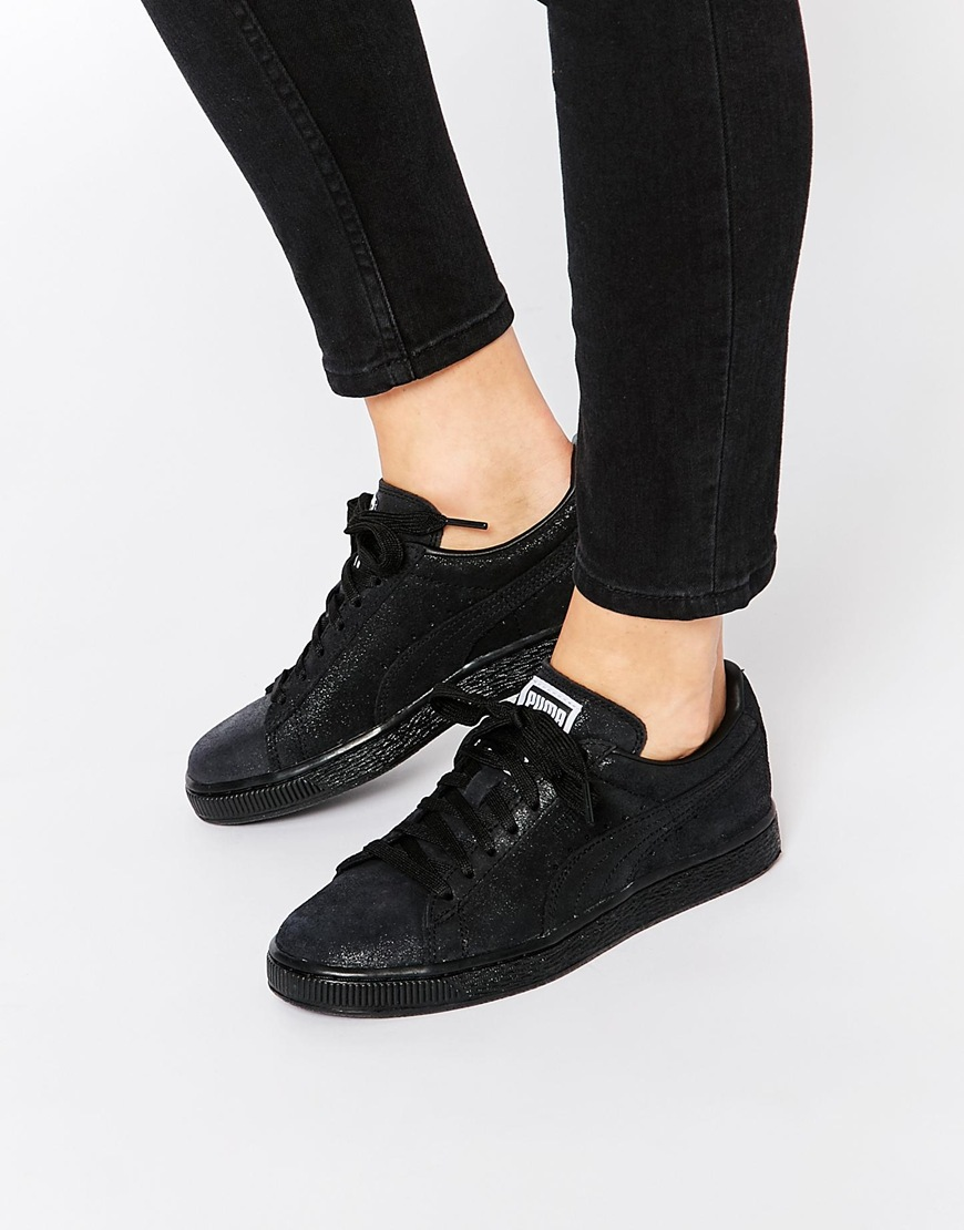 Shop Black Trainers Suede Fashion Matt Classic Puma Lo Shine p4q04n1FWw