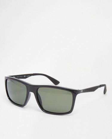 Fashion Shop - Ray-Ban Wayfarer Sunglasses With Polarised Lens 0RB4228 601/9A58 - Black