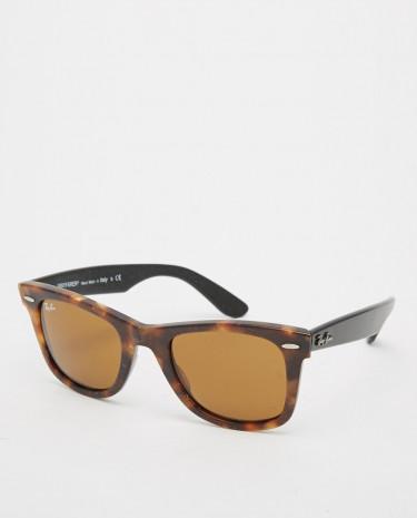 Fashion Shop - Ray-Ban Wayfarer Sunglasses with Distressed Frame 0RB2140 1187 50 - Brown